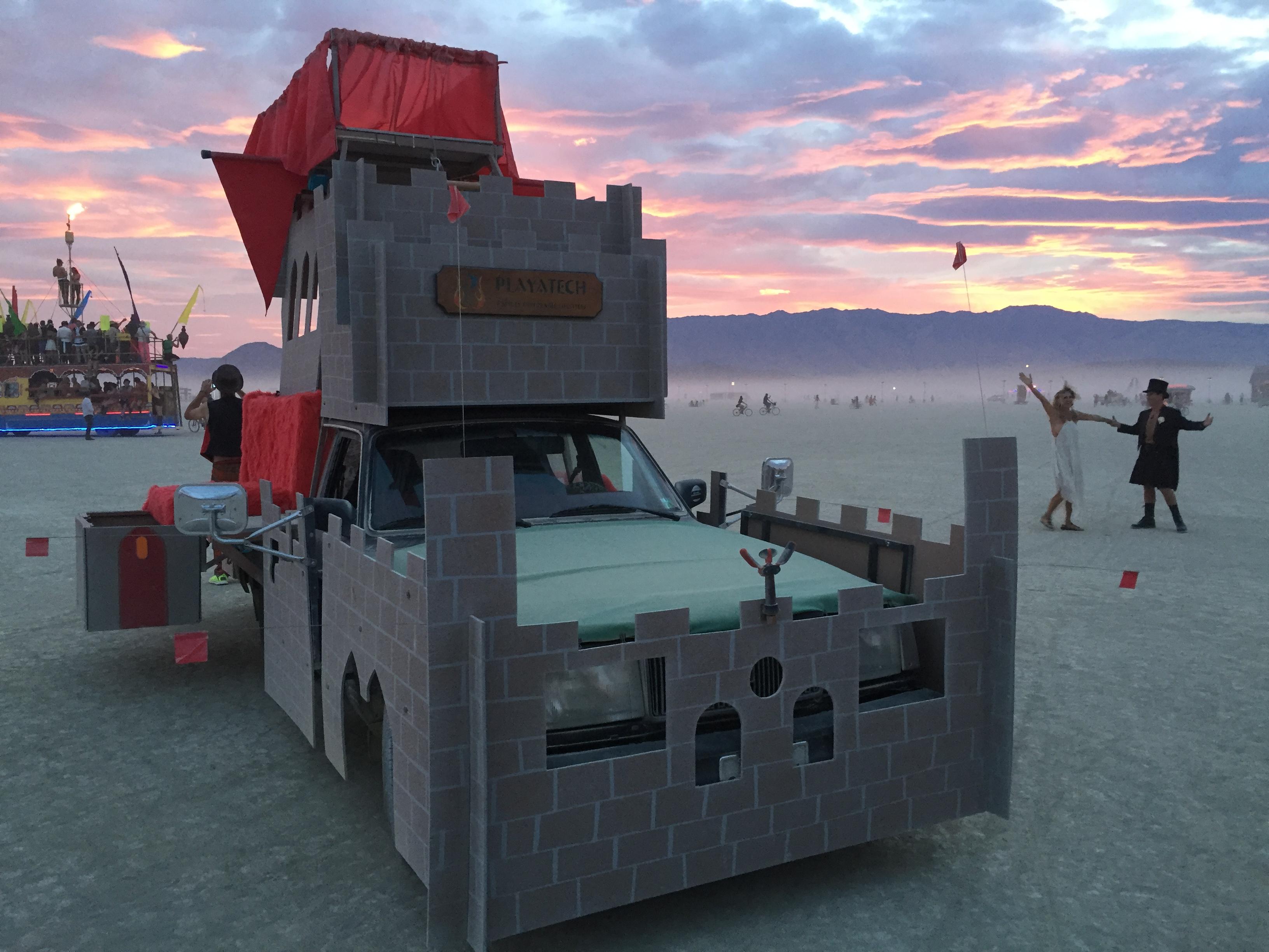 Flaming Castle Does Sunset Wedding